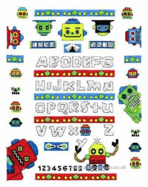 Funky Robot A - Z Sampler Cross Stitch Kit